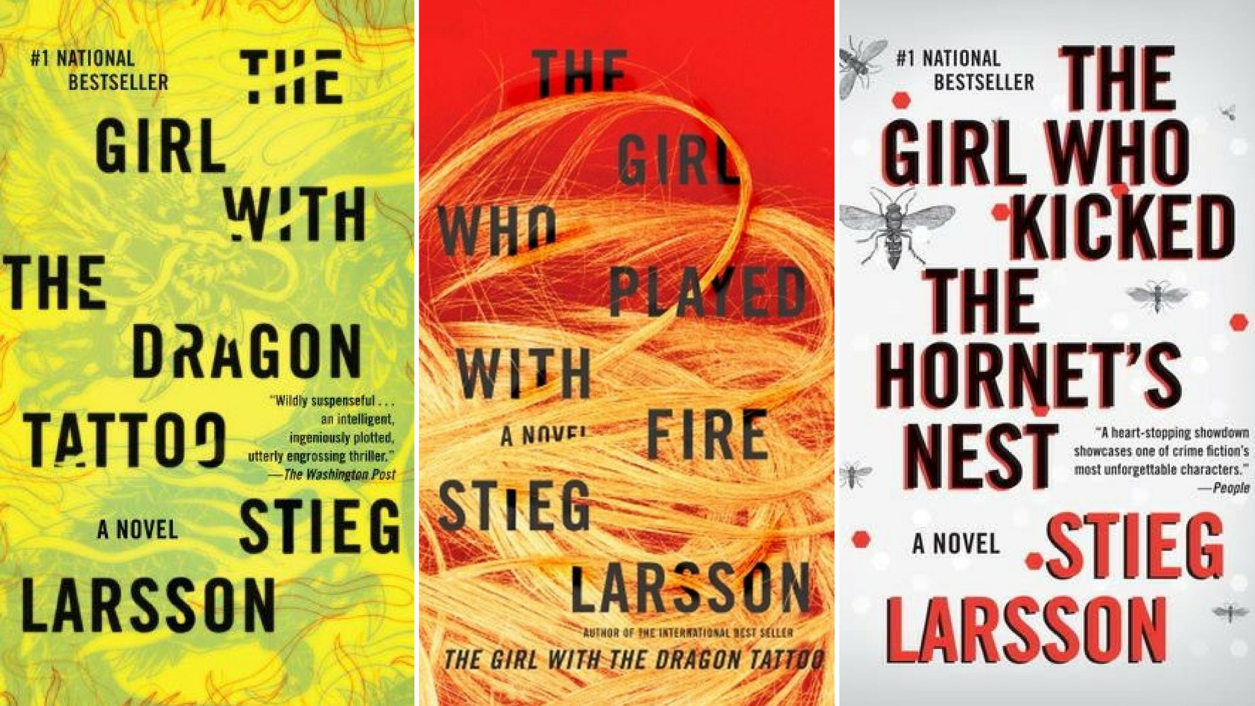 covers of Stieg Larsson series