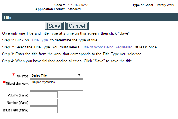 selecting series in title type screen in eCO copyright application