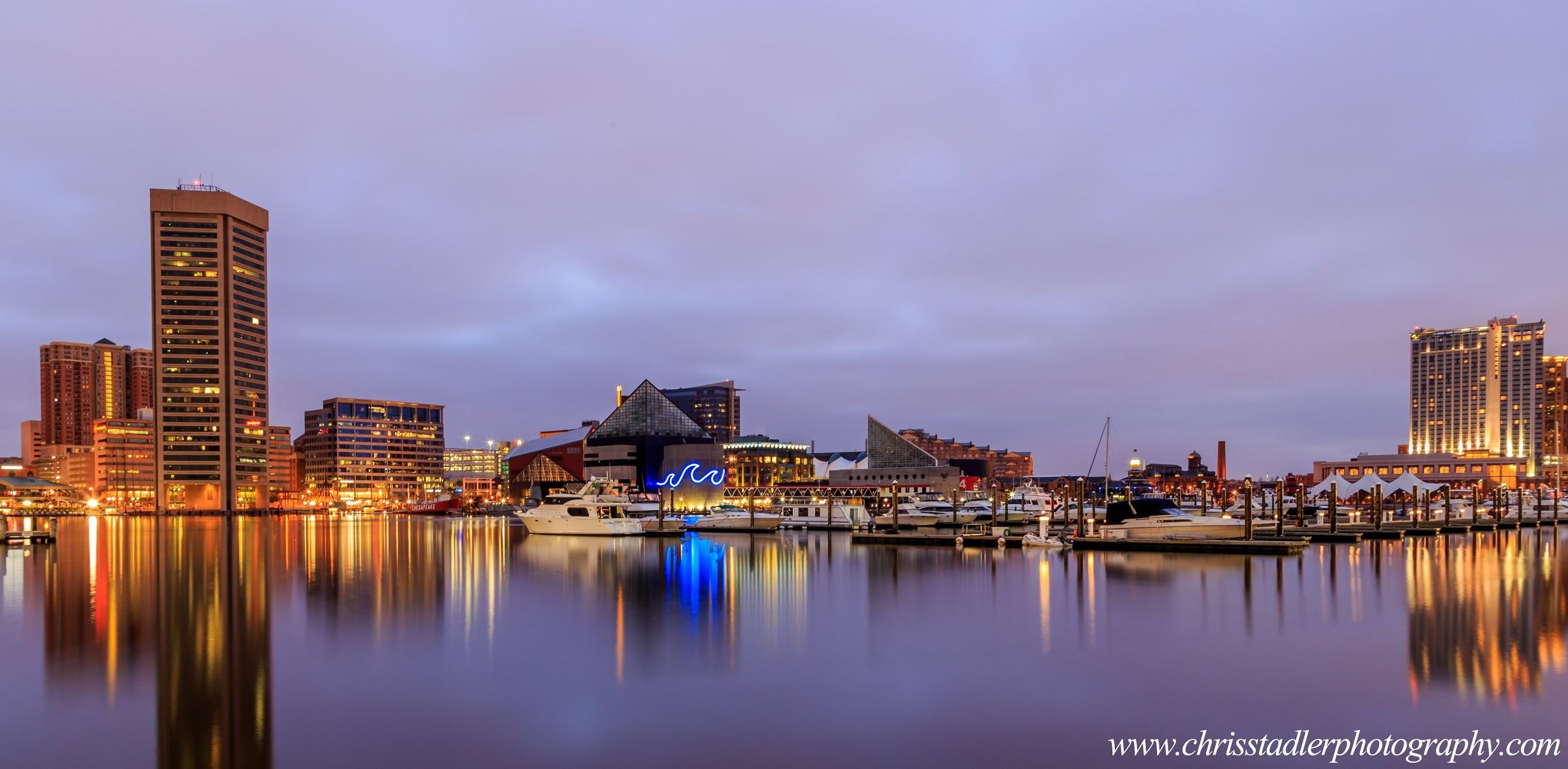 a tranquil Baltimore Inner Harbor