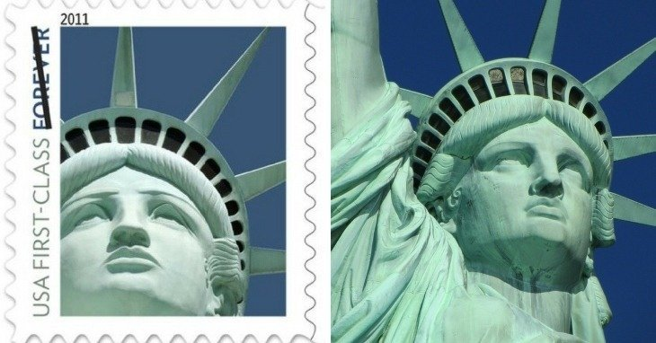 Lady Liberty stamp and statue
