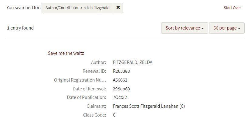 copyright renewal zelda fitzgerald