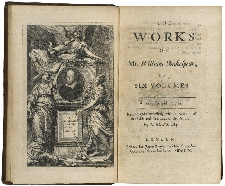Title page from the Works of Shakespeare, 1709.