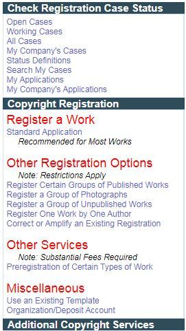 Menu of Copyright Applications.
