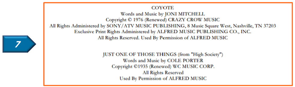 lyric license on copyright page