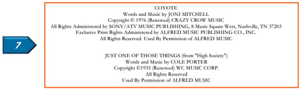lyric license on copyright page