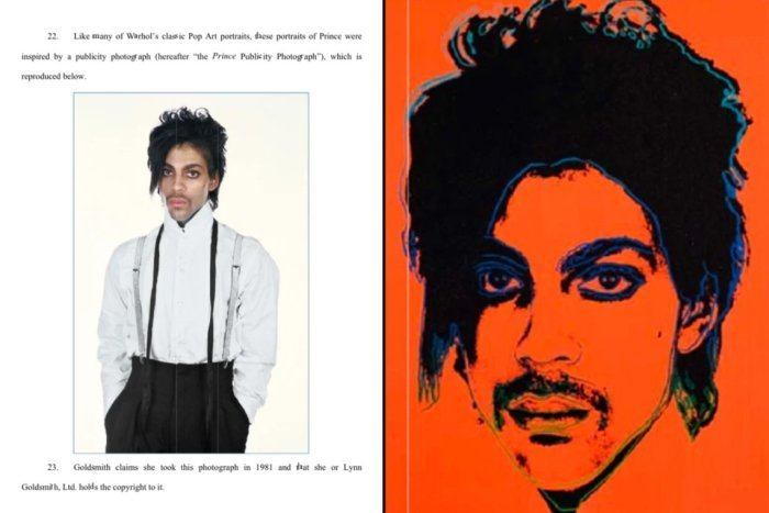 side-by-side comparison of Goldsmith photo and Warhol print
